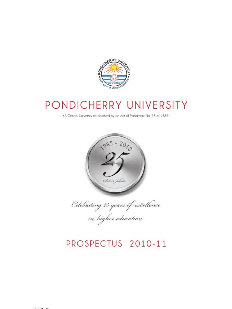 Pondicherry university 2010 11 prospectus university and college pondicherry university 2010 11 prospectus university and college admission postgraduate education fandeluxe Gallery