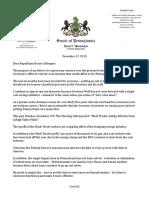 Sen. Scott Wagner's Letter to House GOP