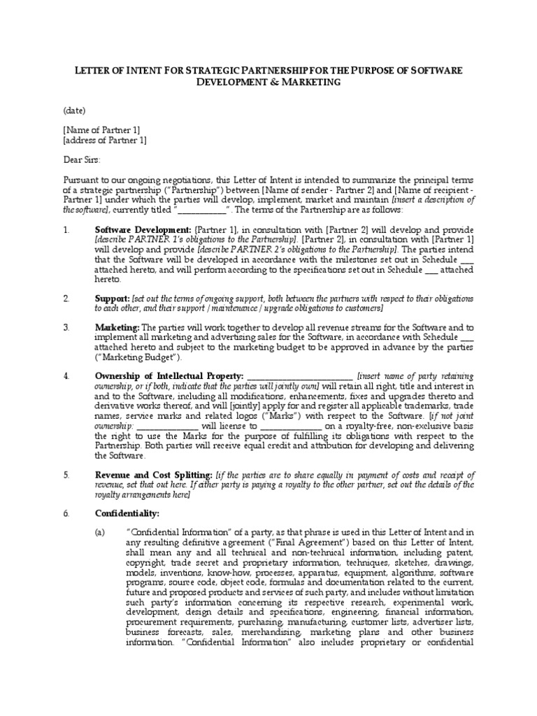 Letter of intent for software development royalty payment letter of intent for software development royalty payment proprietary software spiritdancerdesigns Images