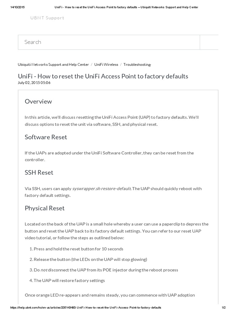 UniFi - How to Reset the UniFi Access Point to Factory Defaults