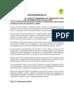 ALEJANDRO TOLEDO SOLICITA PROGRAMAS DE PREVENCIÓN PARA MITIGAR EFECTOS DE SEQUÍAS EN EL SUR DEL PERÚ
