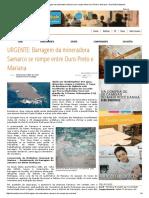 URGENTE_ Barragem Da Mineradora Samarco Se Rompe Entre Ouro Preto e Mariana – Sou Notícia Itabirito