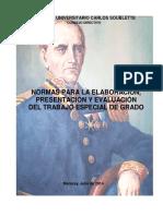 NORMAS ELABORACI+ôN PRESENTACION Y EVALUACION DE TEG 2014