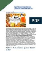 Tóxicos Ingredientes Alimenticios y Aditivos Artificiales Que Se Deben Evitar
