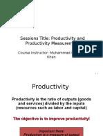 Lecture 1 Productivity Measurement