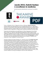 Takamine Awards 2015 Daiichi Sankyo Premia Le Eccellenze in Medicina