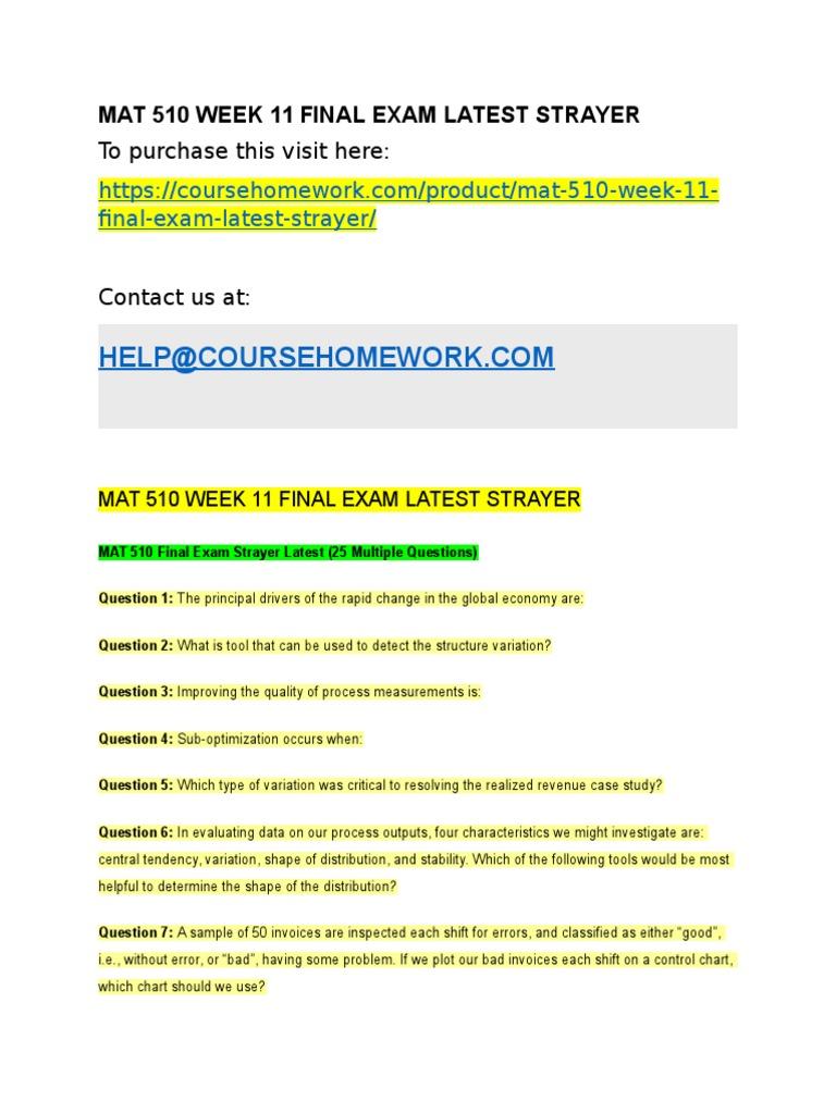 Mat 510 Week 11 Final Exam Latest Strayer | Confidence Interval ...