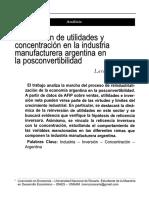Lorenzo Cassini. Reinversión de Utilidades y Concentración en La Industria Manufacturera Argentina en La Posconvertibilidad. Realidad Económica. Mayo-Junio 2015