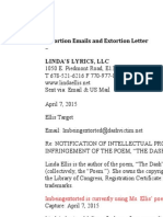 "Linda Ellis Copyright - ""Ima Target ""Extortion Emails and Extortion Letter"