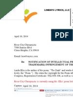 Linda Ellis Copyright - Extortion Letter - River City Chiropractic
