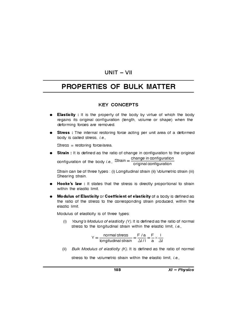 Properties of Bulk Matter Class XI | Elasticity (Physics) | Viscosity