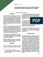 Plantulas de Algunas Especies Leñosas Nativas y Connaturalizadas Del Bosque Subandino Silvania Cundinamarca Colombia