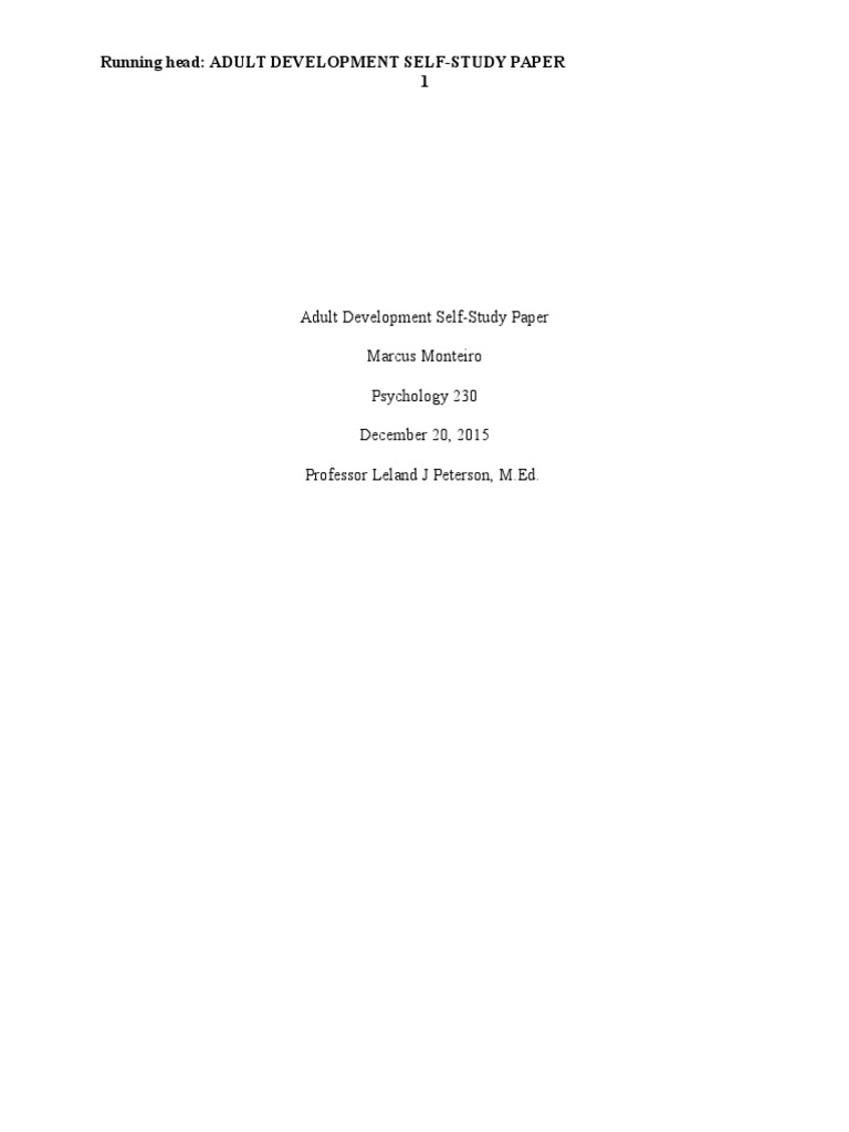 adult development self study paper adolescence self improvement