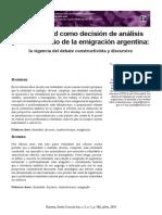La identidad como decisión de análisis para el estudio de la emigración argentina