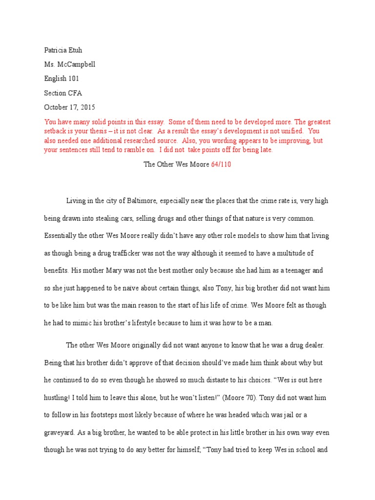 Etuh the other wes moore essay citation essays