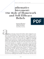 Mathematics Achievement; The Role of Homework and Self-Efficacy Beliefs