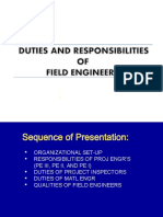 Duties of Field Engrs