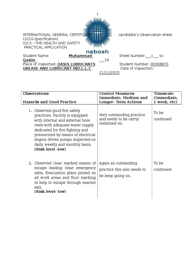 nebosh fc2 observation Home » nebosh » why don't they read the instructions fc2 nebosh health & well-being certificate completing the observation form:.