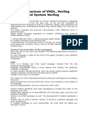 ACA Assignment   Hardware Description Language   Vhdl