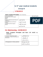 Group B Seminars for 6th Year Medical Students