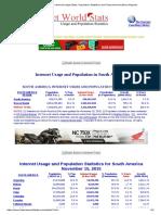 South America Internet Usage Stats, Population Statistics and Telecommunications Reports