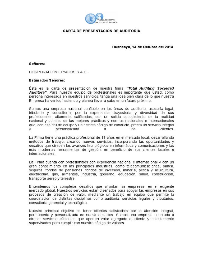 Carta De Presentacion De Auditoria Normas Internacionales