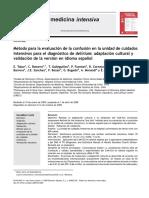 Método Para La Evaluación de La Confusión en La Unidad de Cuidados Intensivos Para El Diagnóstico de Delírium Adaptación Cultural y Validación de La Versión en Idioma Español