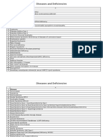 Diseases and Deficiencies - USMLE / COMLEX