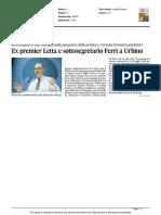 Ex premier Letta e sottosegretario Ferri a Urbino - Il Corriere Adriatico del 18 dicembre 2015
