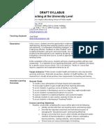 University Teaching 101 Sample Syllabus 1