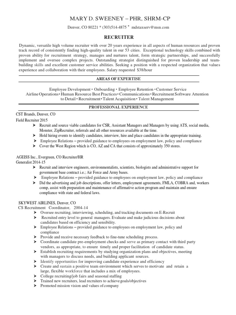 Recruiting Manager Talent Acquisition In Denver Co Resume Mary