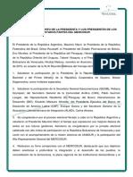 XLIX REUNIÓN DEL MERCOSUR - COMUNICADO CONJUNTO DE LA PRESIDENTA Y LOS PRESIDENTES DE LOS ESTADOS PARTES DEL MERCOSUR