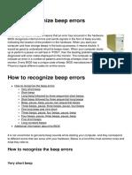 How to Recognize Beep Errors