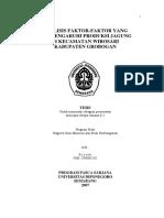 Analisis Faktor-faktor Yang Produksi Jagugng