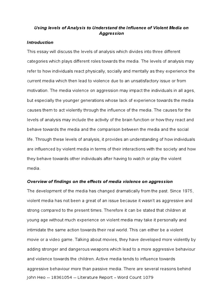using levels of analysis to understand the influence of violent  using levels of analysis to understand the influence of violent media on aggression aggression violence