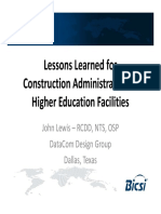Lessons Learned for Construction Administration of Higher Education Facilities - John Lewis - DataCom Design Group
