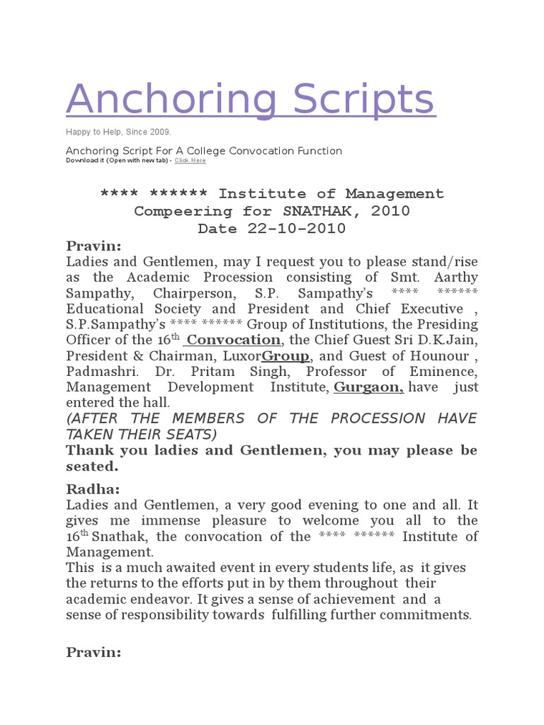 anchoring script for symposium Anchoring script in english for script for seminar how to anchor an international conference symposiumpart 1 how to anchor an international conference symposium.
