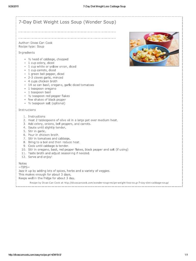 7 Day Diet Cabbage Soup Recipe Pdf Cuisine European Cuisine