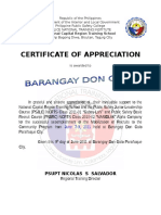 NCRTS Certificate of Appreciation for Don Galo Brgy Captain and Kagawad