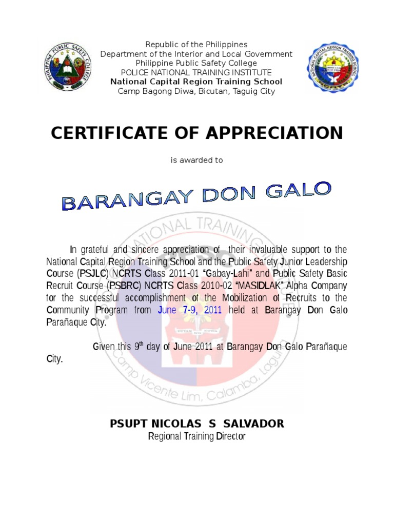Ncrts certificate of appreciation for don galo brgy captain and ncrts certificate of appreciation for don galo brgy captain and kagawad metro manila crime justice yelopaper Choice Image