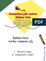 Komunikacijski sustav politicke stranke Zelena lista (rujan 2010)