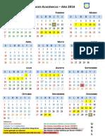 Calendario gráfico 2016