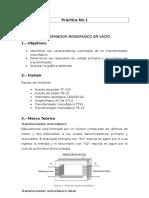 TRANSFORMADOR MONOFÁSICO EN VACÍO