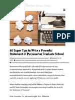 60 Super Tips to Write Statement of Purpose for Graduate School