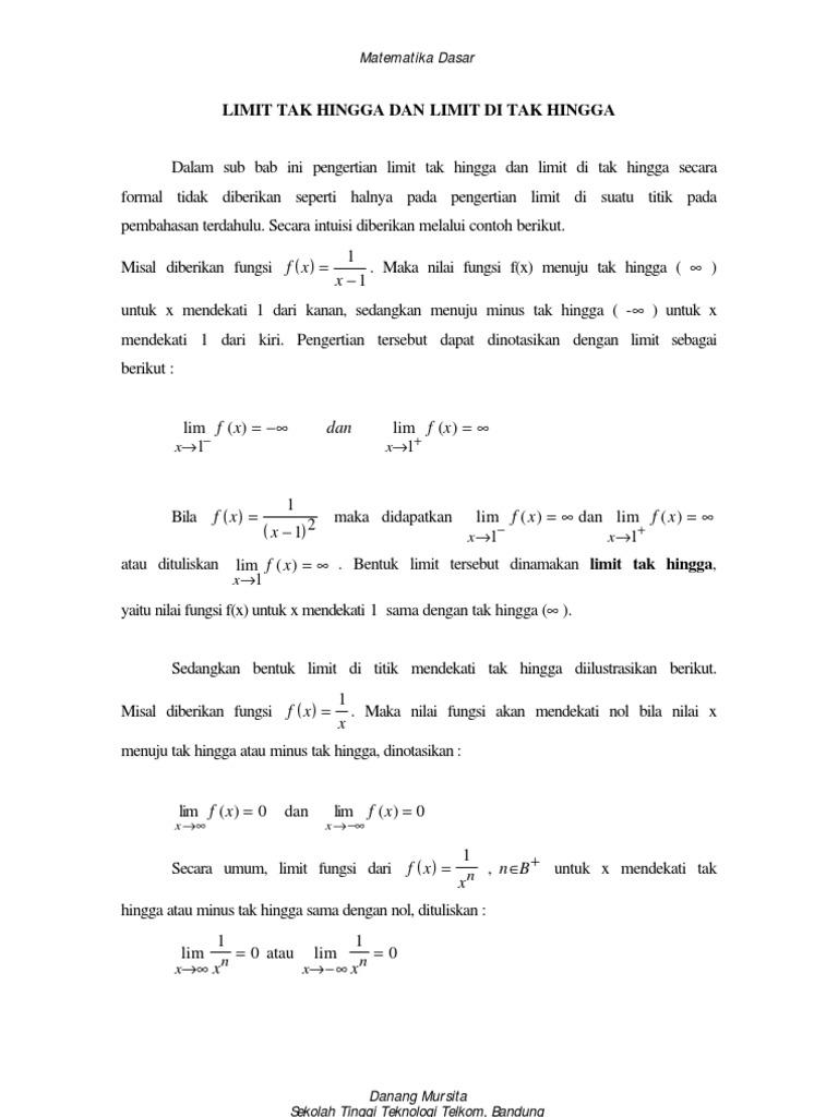 4 Modul Matematika Limit Tak Hingga Dan Limit Di Tak Hingga
