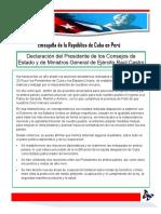 Declaracion Del Presidente Raul Castro