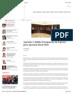 18-12-15 Aprueba Cabildo Presupuesto de Egresos Para Ejercicio Fiscal 2016