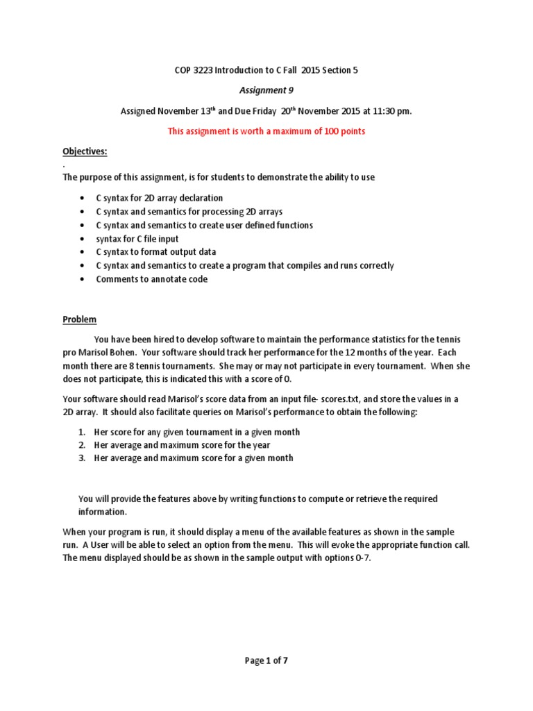 array assignment c