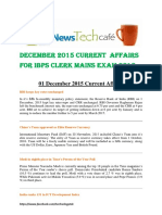 December  2015 Current Affairs by Newstechcafe for IBPS CLERK MAINS EXAM 2016