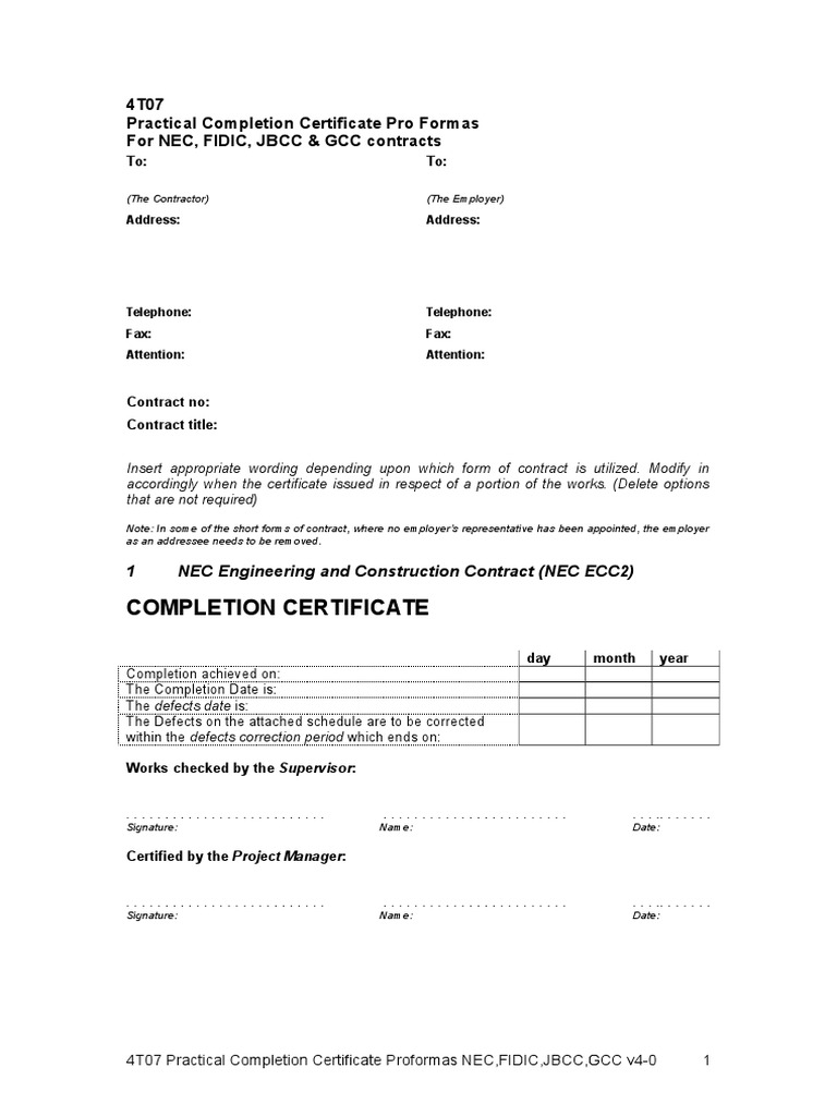 jct practical completion certificate template new work
